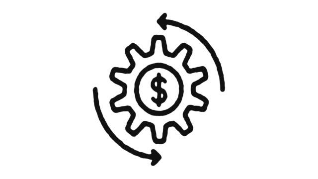 vídeos de stock e filmes b-roll de economy icon animation footage & alpha channel - circular economy