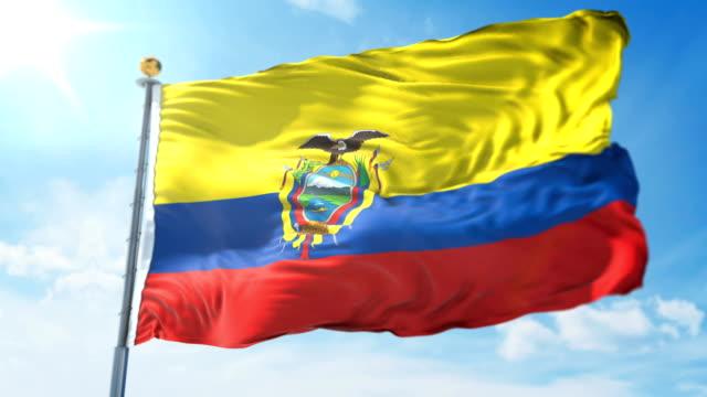 vídeos de stock, filmes e b-roll de vídeo de renderização 3d loop sem costura da bandeira equador. têxteis belo pano tecido laço acenando - insígnia