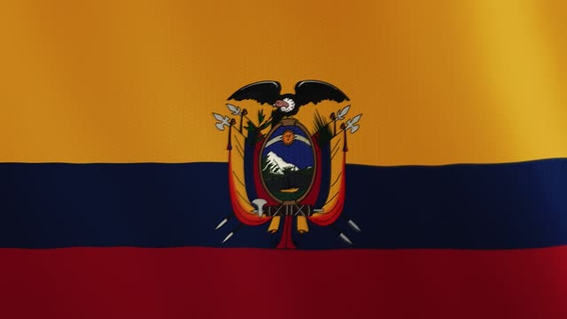 Ecuador flag waving animation. Full Screen. Symbol of the country video