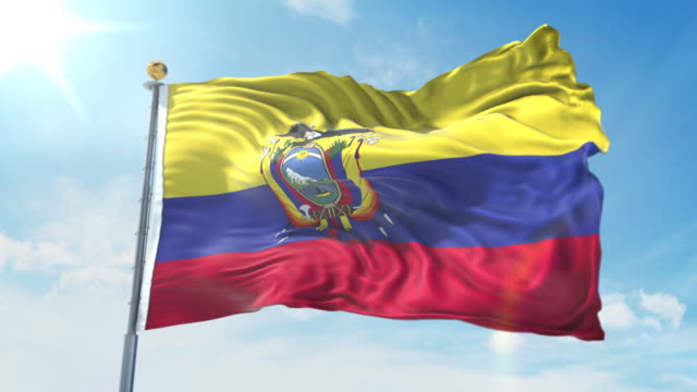 Ecuador flag waving in the wind against deep blue sky. National theme, international concept. 3D Render Seamless Loop 4K Ecuador flag waving in the wind against deep blue sky. National theme, international concept. 3D Render Seamless Loop 4K allegory painting stock videos & royalty-free footage