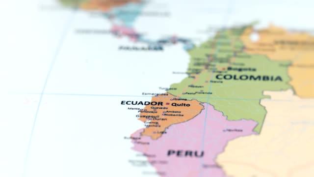 south america ecuador on world map - sud est video stock e b–roll