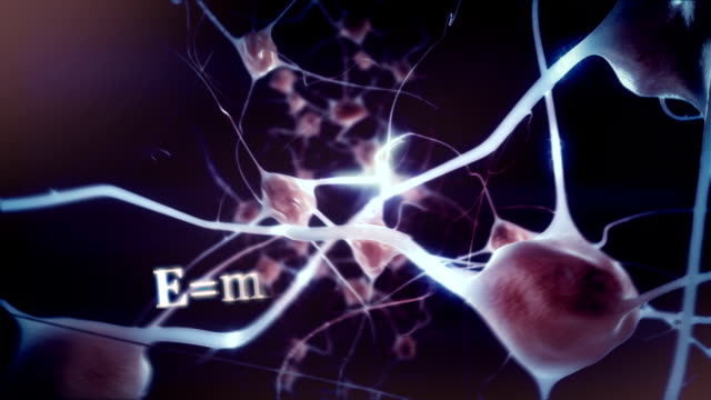 Educated mind: Zoom through eye into brain / neuron activity video