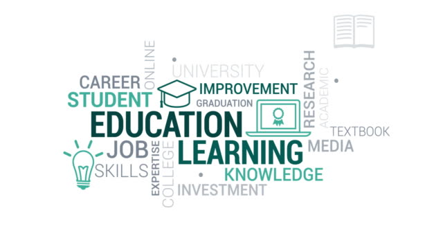 education and learning tag cloud - online learning stock videos & royalty-free footage