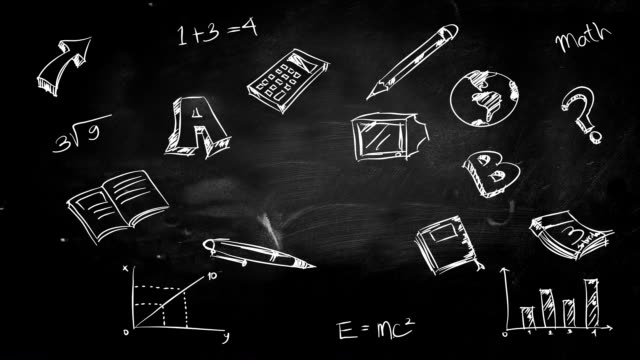 Education doodle sketch looping animation with matte
