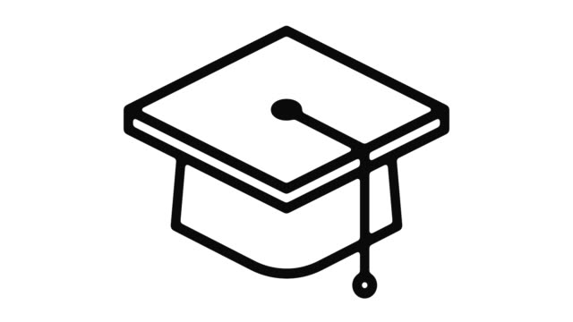 education line motion graphic - graduation cap stock videos & royalty-free footage