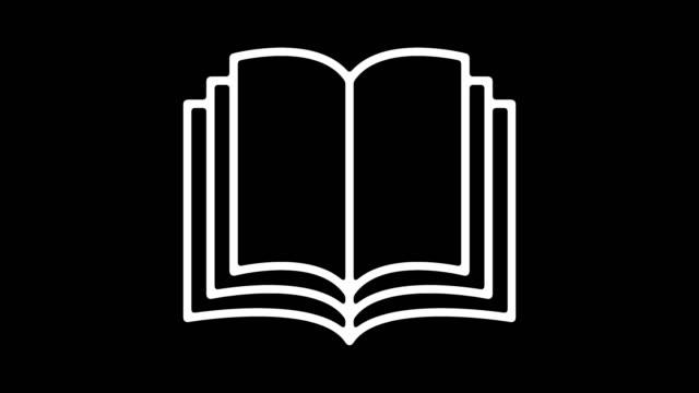 animazione dell'icona della linea dei criteri per l'istruzione con alpha - fare una prenotazione video stock e b–roll