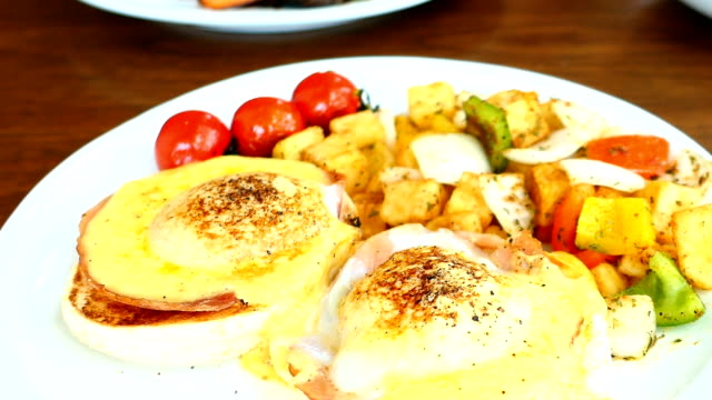 Egg benedict with vegetable for breakfast video