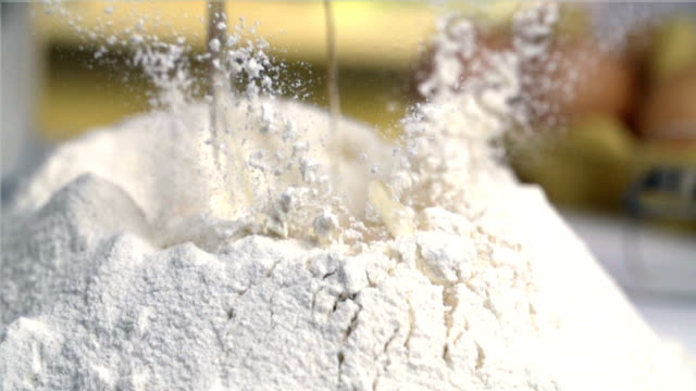 Egg falling into flour video
