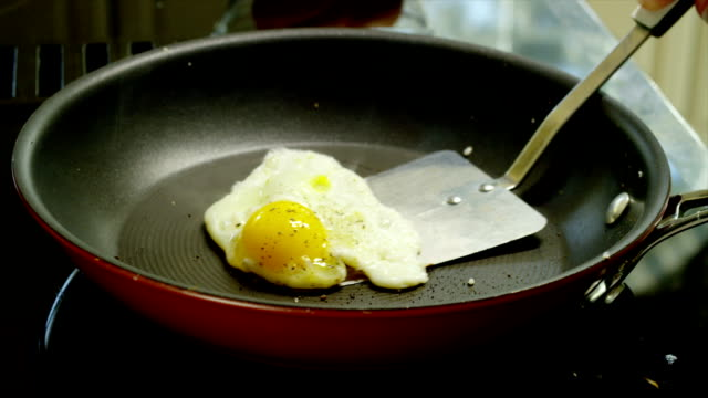 Egg Frying Egg frying in a pan. cooking pan stock videos & royalty-free footage