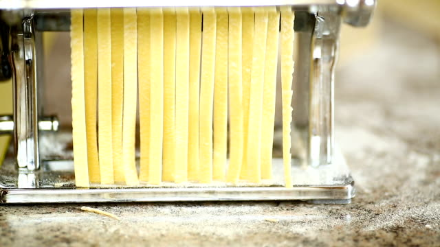 egg homemade raw noodles - pasta video stock e b–roll