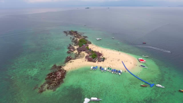 Egg island ,Thailand Aerial view of Egg island cape peninsula stock videos & royalty-free footage