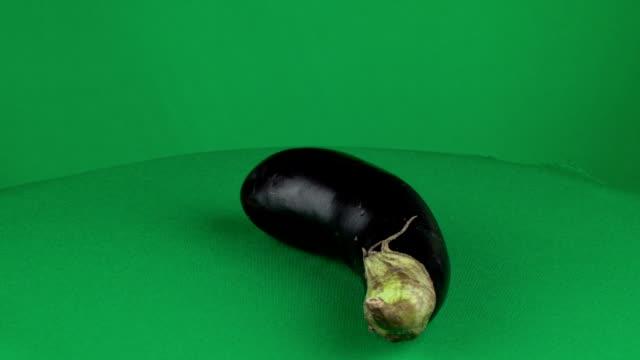 Eggplant Rotating in Green Screen Chroma Key Matte video