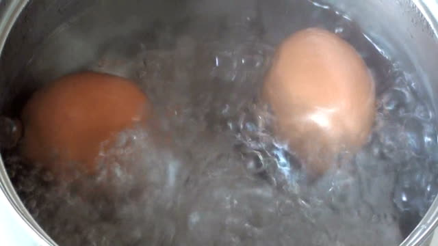 eggs are boiling eggs are boiling in saucepan boiled stock videos & royalty-free footage