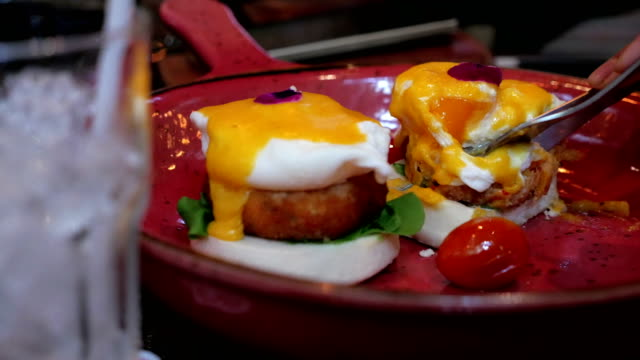 Eggs Benedict a traditional American breakfast video