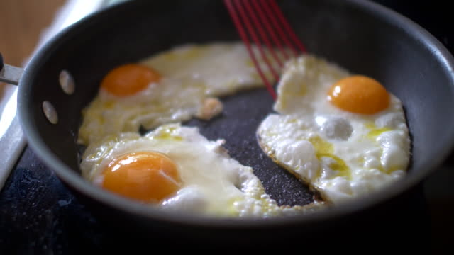 eggs in Frying Pan Close up video