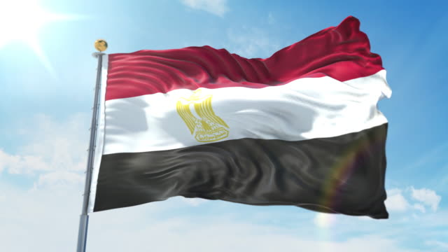 Egypt flag waving in the wind against deep blue sky. National theme, international concept. 3D Render Seamless Loop 4K Egypt flag waving in the wind against deep blue sky. National theme, international concept. 3D Render Seamless Loop 4K allegory painting stock videos & royalty-free footage
