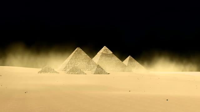 Egyptian Giza pyramids on black background video