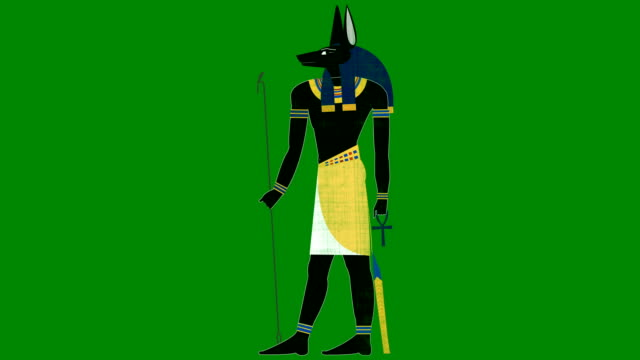 Egyptian God Of Death Anubis On A Green Screen Background