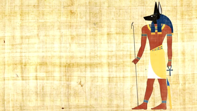 Egyptian God Of Death Anubis On A Papyrus Background video