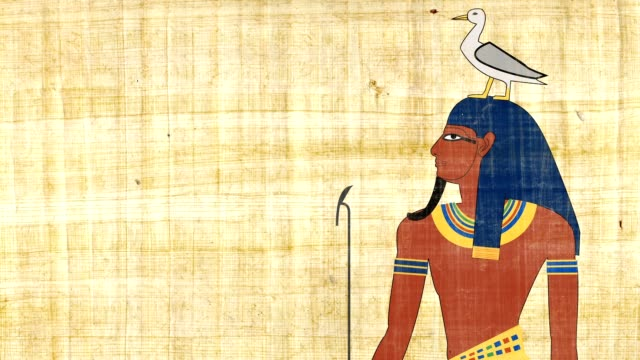 Egyptian God Of Earth Geb On A Papyrus Background video