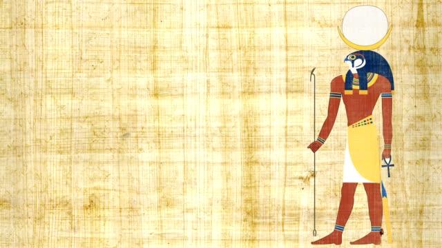 エジプトのパピルスの背景に月コンスの神 - 過ぎ越しの祭り点の映像素材/bロール