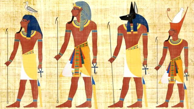 Egyptian Gods And Pharaohs On A Papyrus Background video