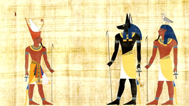 Egyptian Gods Anubis And Geb In Front Of All Egypt Pharaoh video