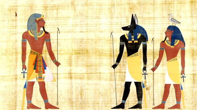 Egyptian Gods Anubis And Geb In Front Pharaoh video