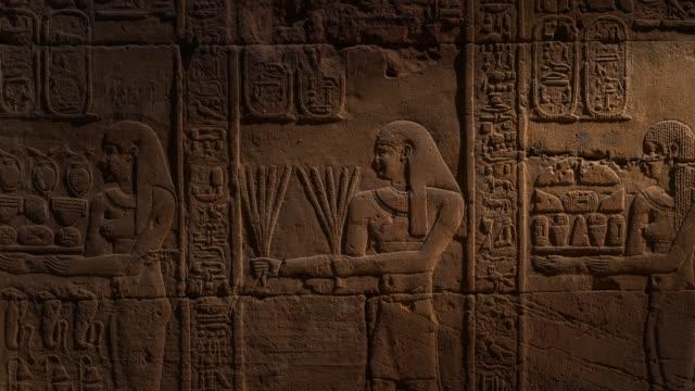 egyptian hieroglyphics - incisione oggetto creato dall'uomo video stock e b–roll