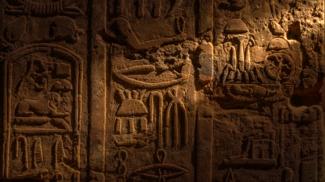 Egyptian hieroglyphics Tomb with old wall paintings in Edfu temple in Luxor. Egypt. archaeology stock videos & royalty-free footage