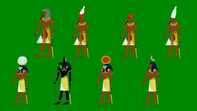 Egyptian Pharaohs and Gods on a Green Screen Background video