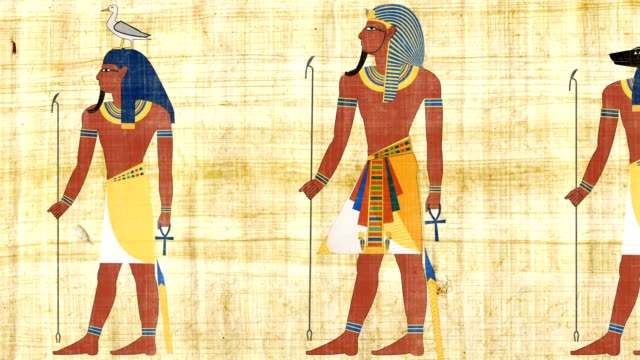 Egyptian Pharaohs And Gods On A Papyrus Background video