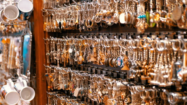 egyptian souvenirs shops for tourists in the old city market at night - key ring stock videos & royalty-free footage