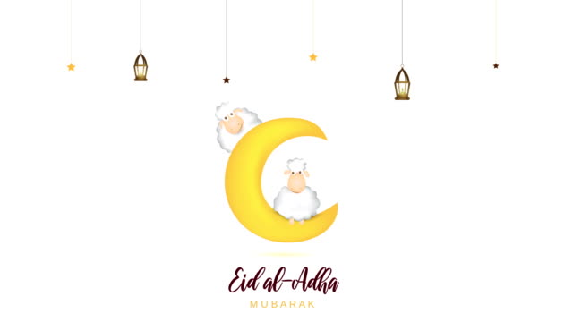 i̇ki koyun ve ay ile eid al adha mübarek. 4k animasyon - kurban bayramı stok videoları ve detay görüntü çekimi