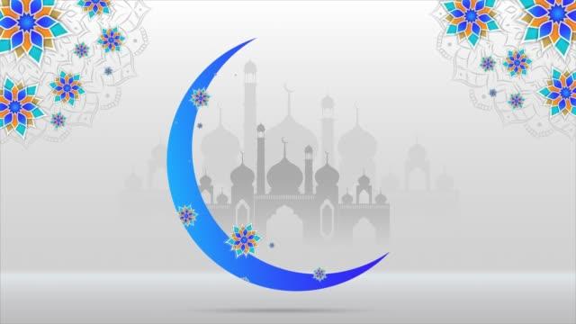 eid mubarak bakgrund hälsning och önskemål med vackra floral moon, mandala och masjid för pr-reklam. - eid ul adha bildbanksvideor och videomaterial från bakom kulisserna