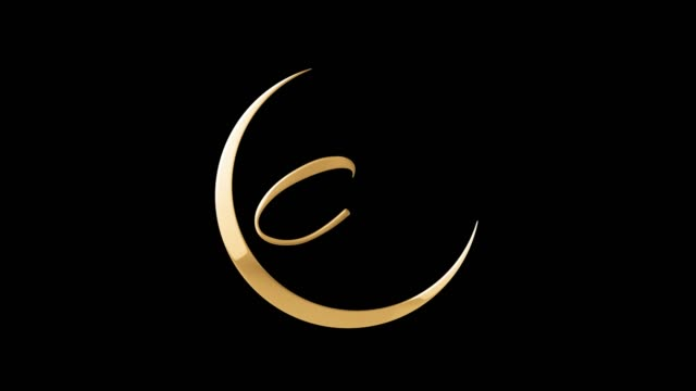 eid mubarak golden shiny animated calligraphy text with moon and masjid dome for black screen - eid stock videos & royalty-free footage