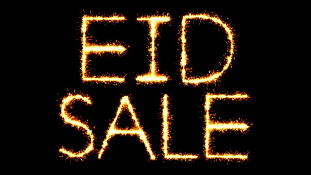 Eid Sale Text Sparkler Glitter Sparks Firework Loop Animation - Vidéo