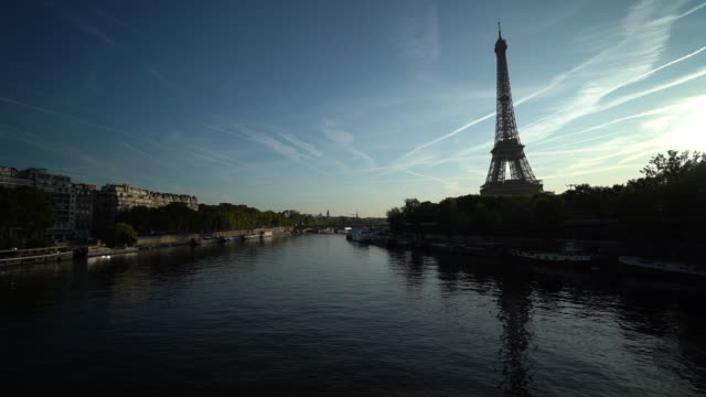Eiffel tower and Seine river - slow motion video