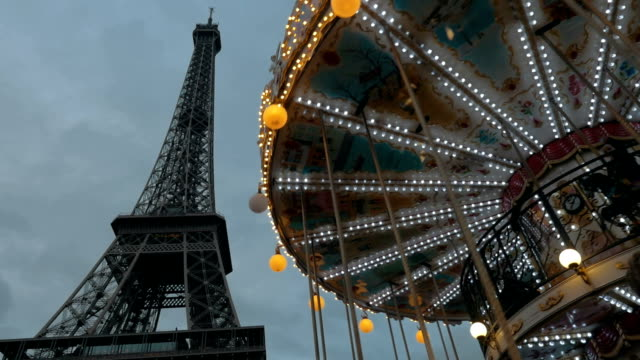 Eiffel Tower and vintage merry-go-round video