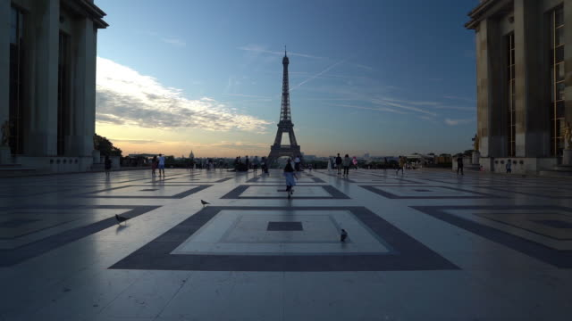 Eiffel tower at dawn in Paris - slow motion