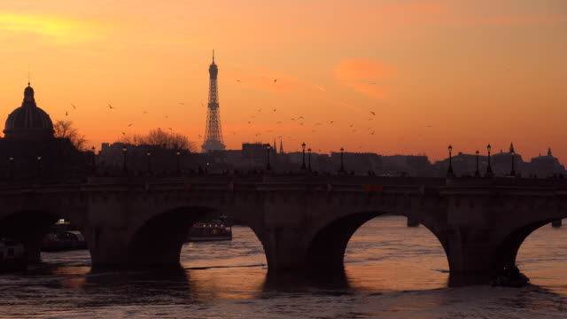 Eiffel tower at sunset in winter, Paris, France