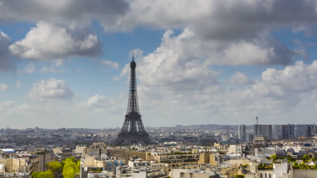 Eiffel Tower, elevated aerial view over rooftops, Paris video