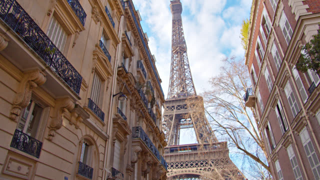 Eiffel Tower. Paris. Residential Building. Tourist Attraction. Classical Iconic View of National Landmark.