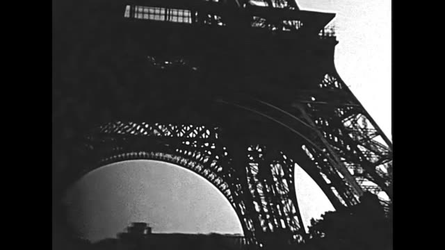 Eiffel Tower Paris Paris Eiffel Tower, bottom view from Champ de Mars gardens. Historic restored BW archival footage on 1960 in Paris city of France. 20th century stock videos & royalty-free footage