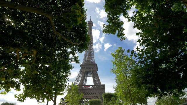 Eiffel Tower seen through trees in Champ de Mars