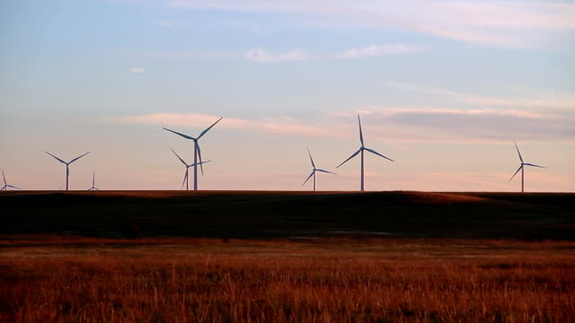 Eight Wind Turbines On A Hill video