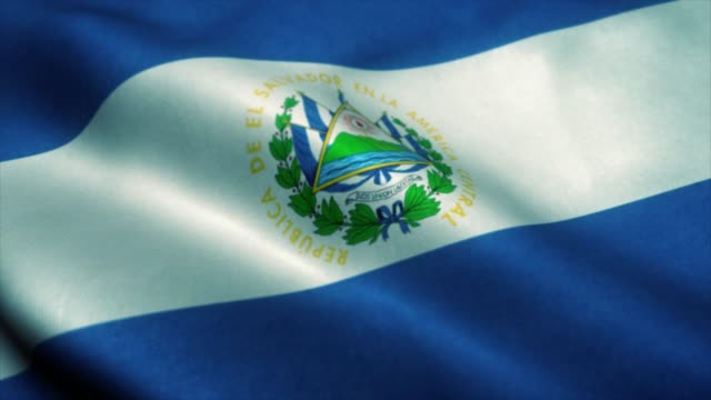 El Salvador flag waving in the wind. National flag of El Salvador. Sign of El Salvador seamless loop animation. 4K