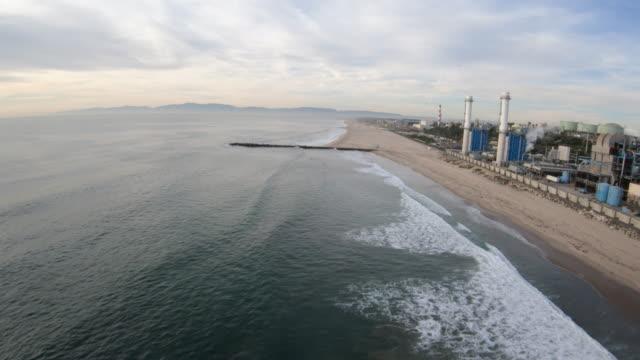 El Segundo CA Beach and Power Plant Aerial View video