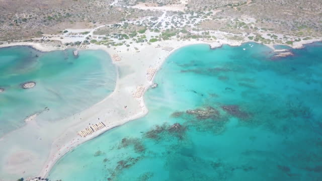 Elafonisi lagoon Crete, Greece. Aerial drone shot greek islands stock videos & royalty-free footage
