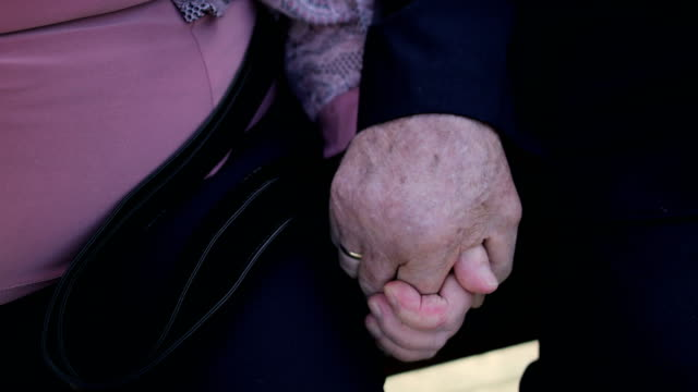 elderly couple sitting on the bench in the spa park.shaking hands. - fedeltà video stock e b–roll